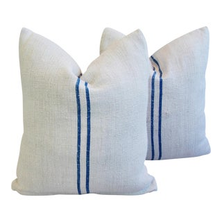European Grain Sack Blue Striped Textile Pillows- A Pair