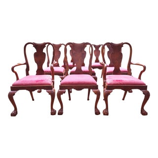 Queen Anne Wood & Hogan Dining Chairs - Set of 8