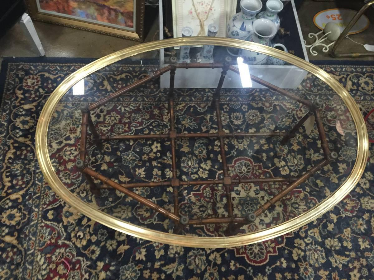 hollywood regency glass brass & faux bamboo coffee table | chairish
