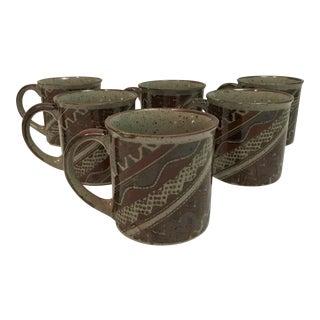 Aztec Design Stoneware Coffee Mugs - Set of 6