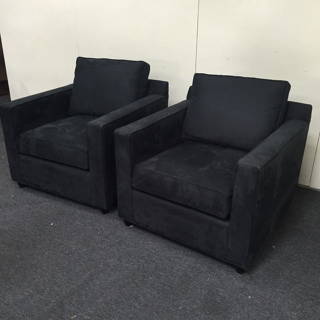 Crate & Barrel Black Microsuede Armchairs - A Pair - Image 3 of 7