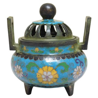 Chinese Metal Blue Enamel Cloisonné Incense Burner