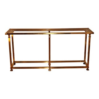 Vintage Mid-Century Brass Glass Top Console Table