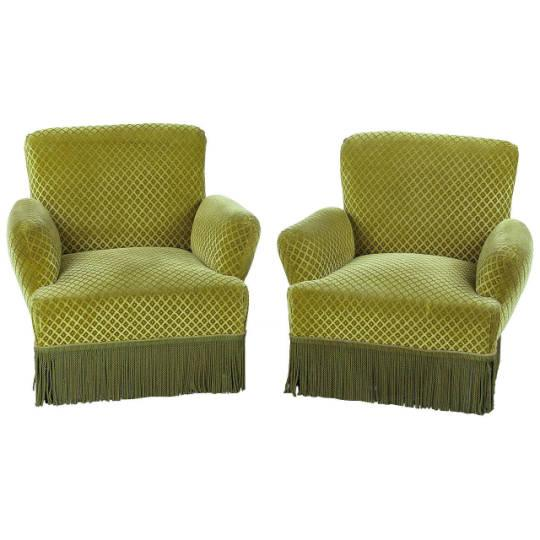 1940s French Green Upholstered Armchairs - A Pair - Image 1 of 10
