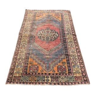 Antique Handwoven Anatolian Wool Area Carpet - 3′9″ × 6′5″