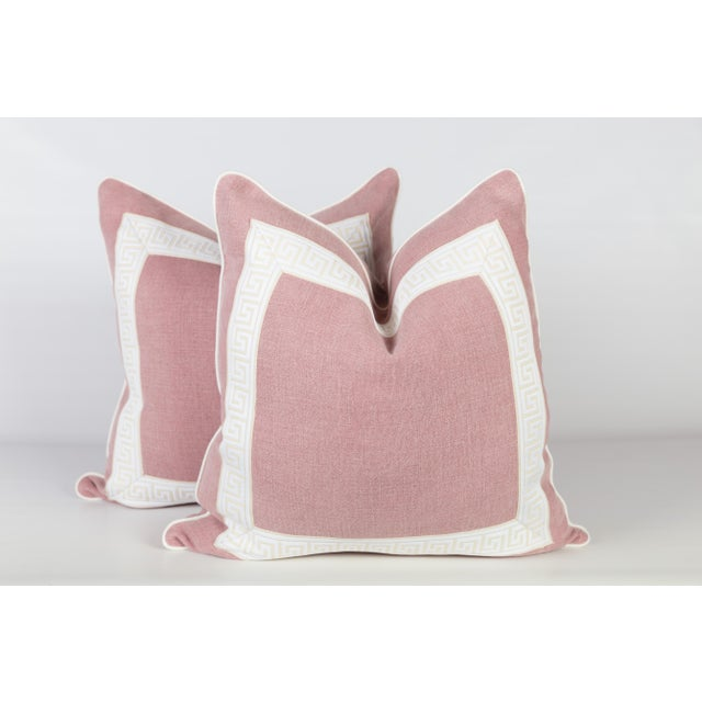 Pink Linen & Ivory Greek Key Pillows - A Pair - Image 5 of 5
