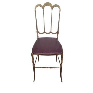 Italian Brass Side Chair with Aubergine Crocodile Seat