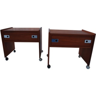 Mid Century Teak Night Stands - A Pair