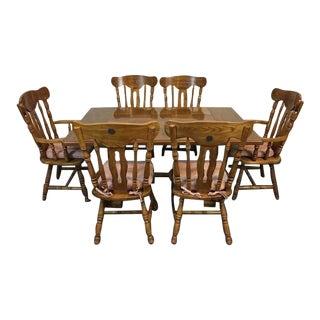 Vintage Carved Oak Dining Suite - Set of 6
