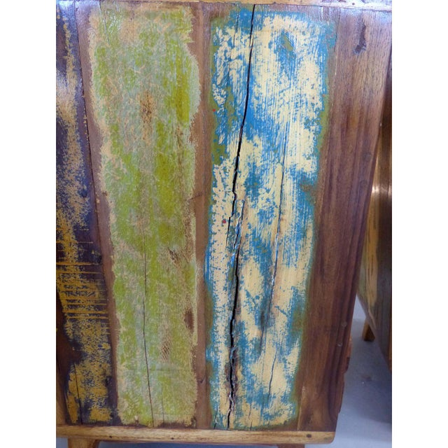 Image of 1950's Style Distressed Finish Wood Nightstands -A Pair