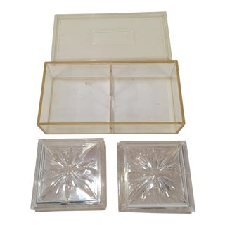 Vintage Lucite Coasters With Storage Box- Set of 8