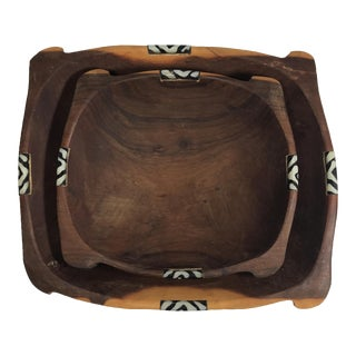 Inlaid Wooden African Nesting Bowls - A Pair