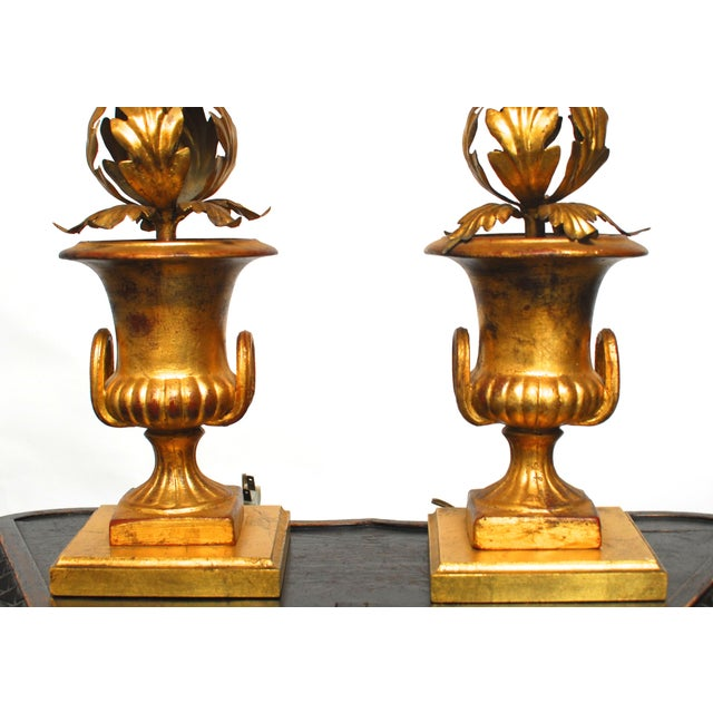 Hollywood Regency Gilt Urn Table Lamps - Pair - Image 2 of 8