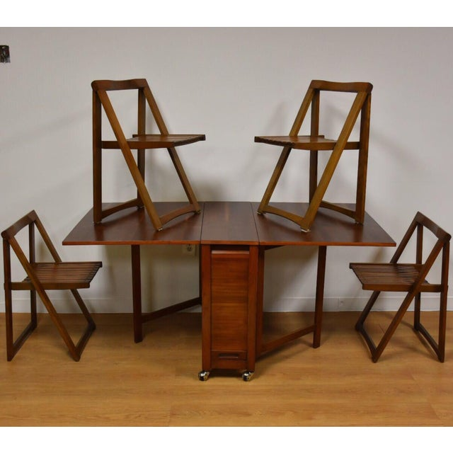 Walnut Dining Table and Self Storing Chairs - Set of 5 - Image 11 of 11