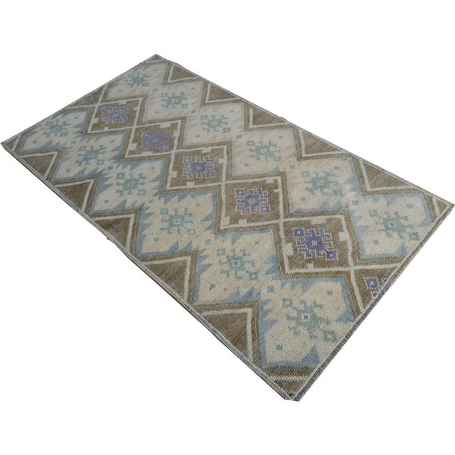 Hand-Knotted Antiqued Turkish Rug - 3′1″ × 5′7″ - Image 1 of 9