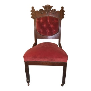Antique Eastlake Style Red Upholstered Accent or Side Chair