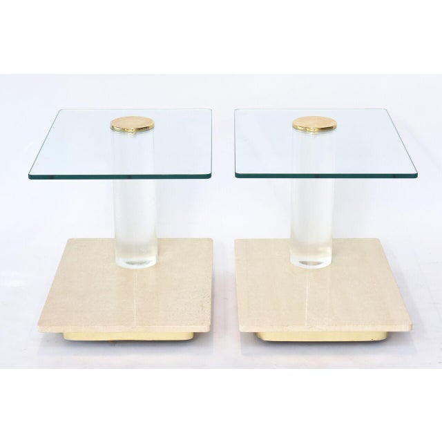 Pair of American Modern Travertine Marble, Lucite and Glass Tables Lion in Frost - Image 3 of 7