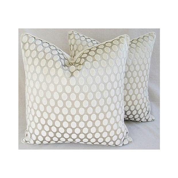 Designer Platinum/White Velvet Dot Pillows - Pair - Image 2 of 8