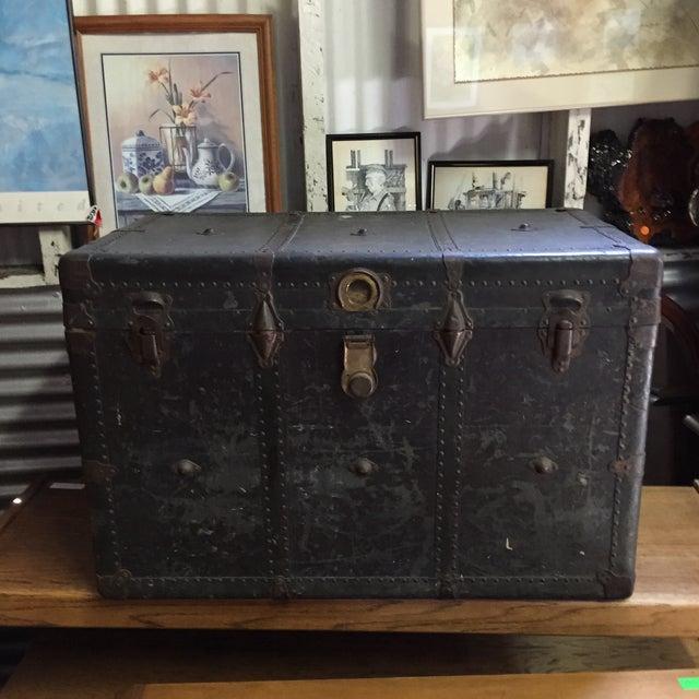 Vintage Leather Handle Steamer Trunk - Image 3 of 9