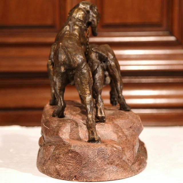19th Century French Patinated Spelter Hunting Dog Sculpture - Image 8 of 9