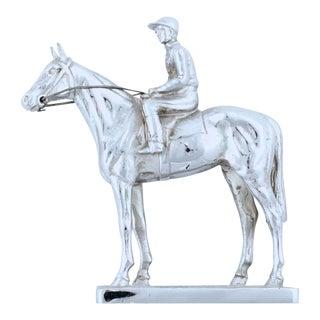 Vintage English Race Horse & Jockey Chrome Car Mascot