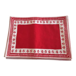 White Bordered Red Placemats- Set of 10