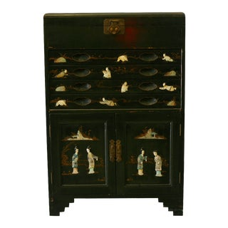 Antique Chinese Black Lacquer Pictorial China Cabinet