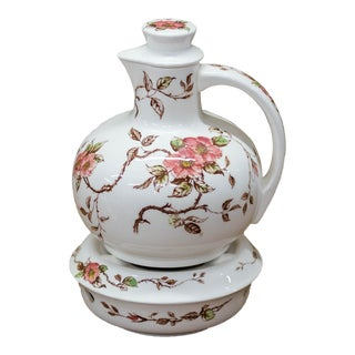 Antique Japanese Rose Teapot & Tea Light Warmer