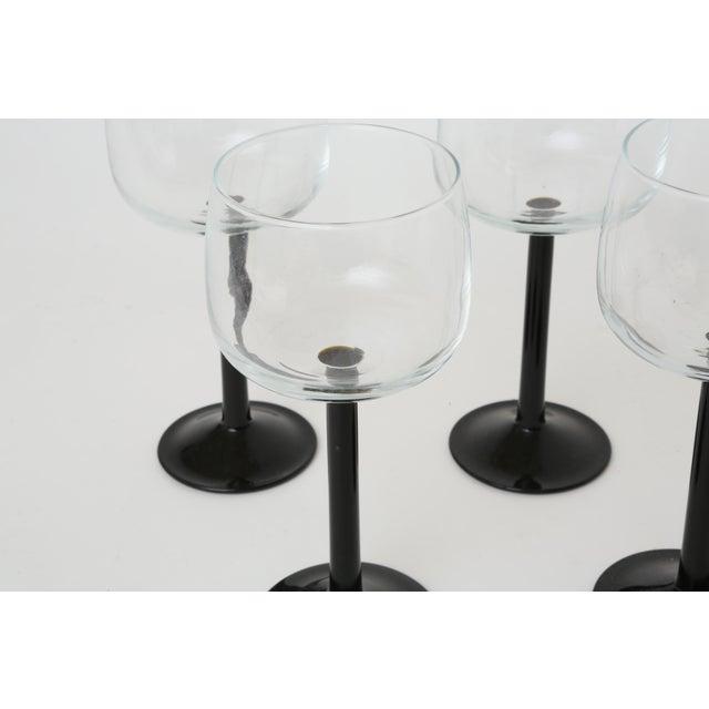Vintage French Black Stem Glasses - Set of 4 - Image 4 of 7