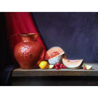 Copper Pitcher, Lemons, Grapes and Cantaloupes Painting