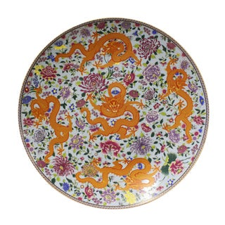 Chinese Porcelain Five Dragons Plate Charger