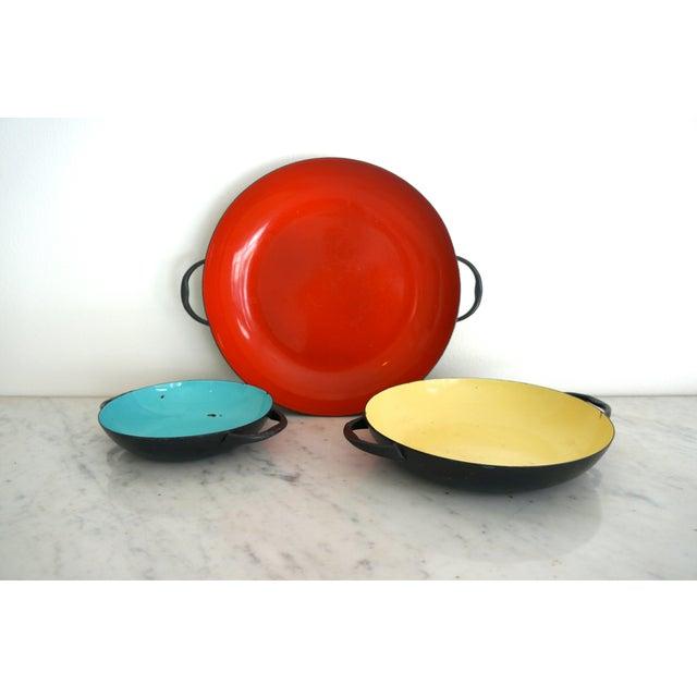 Colorful Enamel Tray Bowls - Set of 3 - Image 5 of 7