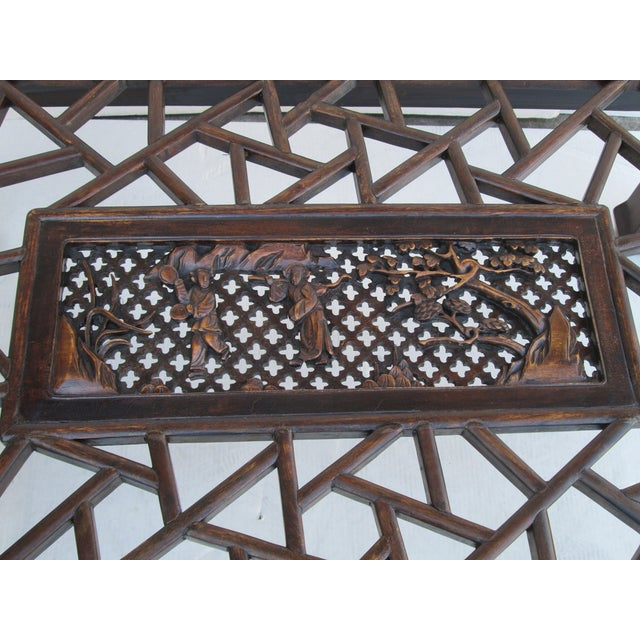 Chinese Recetangular Carved Panel Glass Coffee Tab - Image 5 of 5