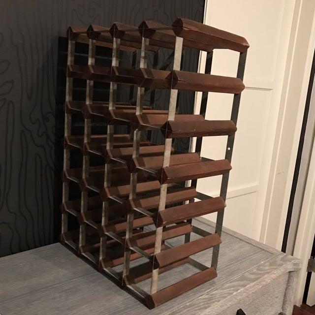 Mid-Century Wood and Metal Wine Rack - Image 4 of 8