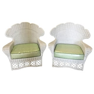 Ficks Reed Vintage White Wicker Chairs - a Pair