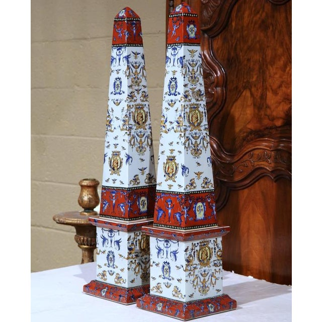 19th C. French Faience Obelisks - A Pair - Image 3 of 8