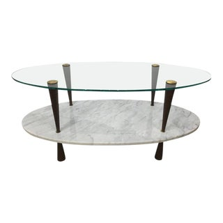 Italian Two-Tier Marble and Glass Cocktail Table