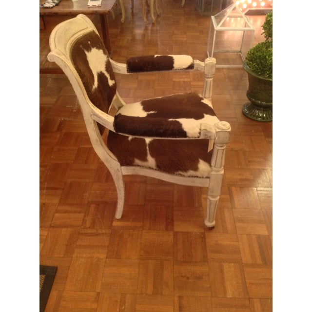 Antique Cowhide Chair with Nailhead Accents - Image 4 of 6