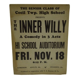 """Vintage """"The Inner Willy"""" High School Play Poster"""