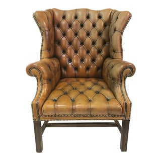Vintage Leather Tufted Wingback Library Chair