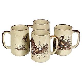 1960s Pheasant & Duck Handled Mugs - Set of 4