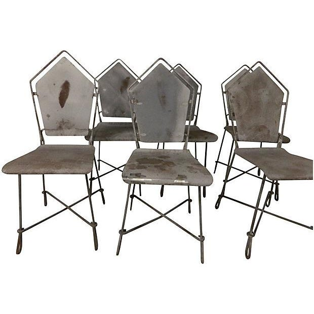 Image of French Art Deco Iron Garden Chairs - Set of 6