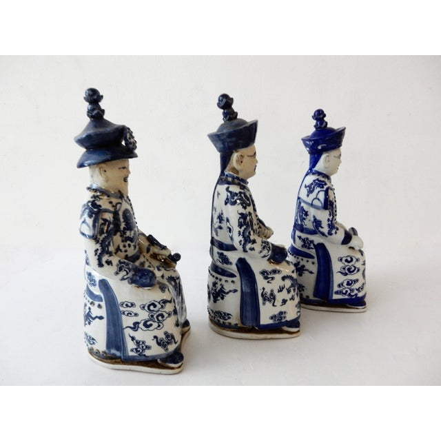 Blue and White Emperors Figures - Set of 3 - Image 4 of 6