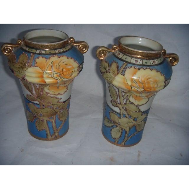 Powder Blue & Peach Nippon Vases - A Pair - Image 4 of 9