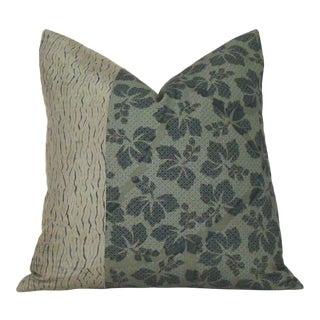 Khaki Green Silk Shibori Floral Pillow Cover