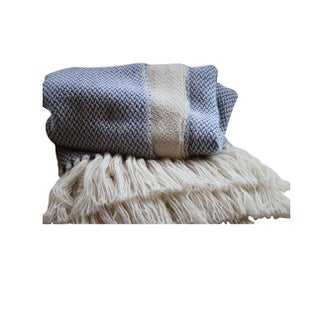 Blue & White Merino Wool Throw