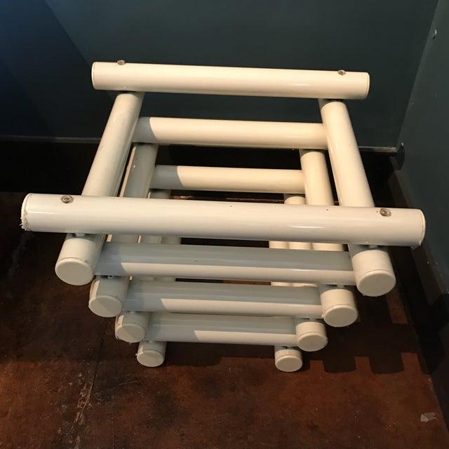 White Tubular Metal Side Table - Image 4 of 7