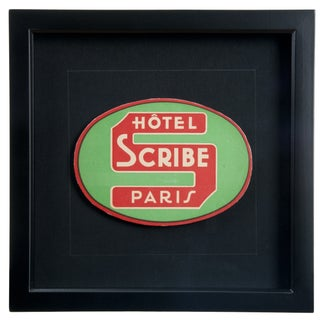 Vintage Framed French Scribe Hotel Luggage Label