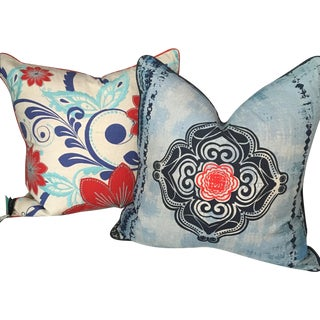 Boho Chic Embroidered Pillows - A Pair