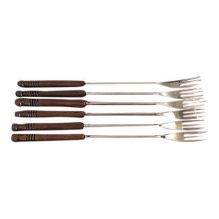 Mid-Century Wood Handled Fondue Forks - Set of 6